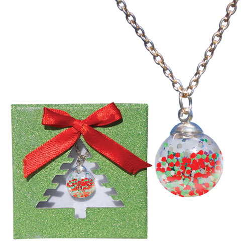 Holiday Glitter Ornament Necklace Image